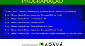 Definida programação para a Semana da Pátria em Araxá
