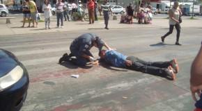 Simulação de atropelamento, no Centro de Araxá, para o trânsito