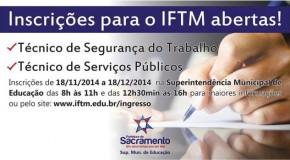 Inscrições para cursos do IFTM em Sacramento terminam dia 18