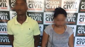 Casal preso pela PC, acusado de tráfico de drogas e porte de arma, em Ibiá