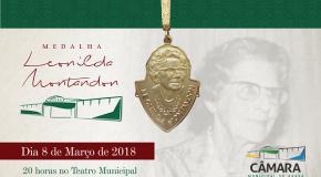 Câmara divulga homenageadas com a Medalha Leonilda Montandon 2018