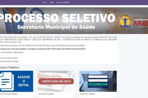 Abertas inscrições para cargo de enfermeiro na ESF e formação de cadastro de reserva em Araxá