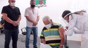 Interno do Recanto do Idoso é a primeira pessoa vacinada contra Covid em Araxá