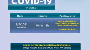 Trabalhadores da limpeza urbana vacinam-se nesse sábado em Patos de Minas